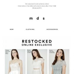 [MDS] Shh.. We restocked 9 sold out items online!