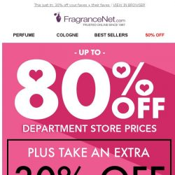 [FragranceNet] 30% OFF + Up to 80% OFF for your ♥ sweetheart ♥