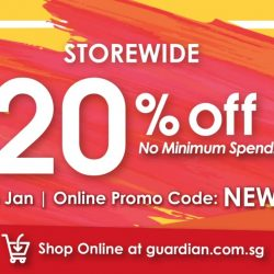 Guardian: Get 20% OFF Storewide with No Minimum Spend In Stores & Online!