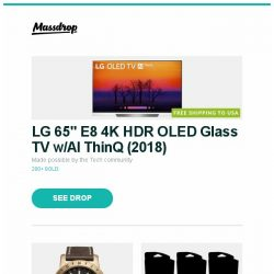 """[Massdrop] LG 65"""" E8 4K HDR OLED Glass TV w/AI ThinQ (2018), Glycine Airman Bronze Automatic Watch, Ravnica Allegiance Guild Kit Preorder (Set of 5) and more..."""