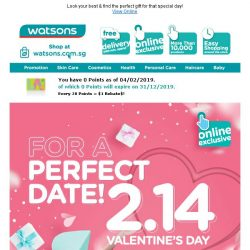 [Watsons] Tips for a Perfect Valentine's Date!  Up to 50% Off Deals