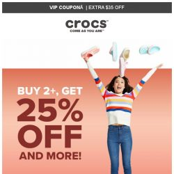 [Crocs Singapore] 💎VIP ONLY💎 Buy 2 Get Extra 25% off and MORE‼