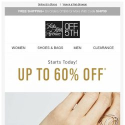[Saks OFF 5th] The Jewelry Event: Up to 60% off Effy, Roberto Coin & more starts NOW