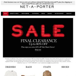 [NET-A-PORTER] Final clearance now on! Get an extra 20% off sale items