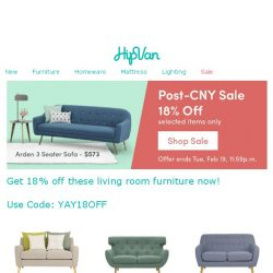 [HipVan] Get 18% off at our Post-CNY Sale! Limited time only!😱