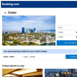[Booking.com] Deals in Osaka from S$ 55