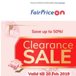[Fairprice] Clearance Sale: Up to 50% savings! 😱