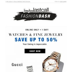 [Last Call] Impeccable timing: up to 50% off designer watches & fine jewelry