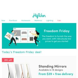 [HipVan] ✨Standing mirrors from $39 this Freedom Friday! Today only!✨