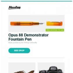 [Massdrop] Opus 88 Demonstrator Fountain Pen, Vulture Premium Wickett & Craig Harness Watch Strap, Nikon D750 DSLR Camera w/ 24–120mm Lens and more...