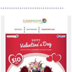[Floweradvisor] 2 days left to Valentine's day. How about extra saving using Paypal?