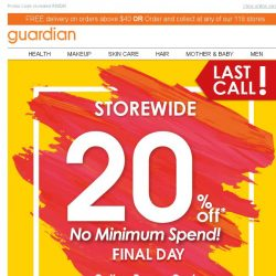 [Guardian] ⌛ 24 Hours Left: 20% OFF Storewide!