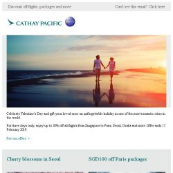 [Cathay Pacific Airways] Your romantic getaway begins here