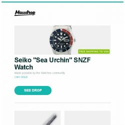 "[Massdrop] Seiko ""Sea Urchin"" SNZF Watch, GLOBAL Classic Series Kitchen Knives, Darn Tough No-Show Socks (3-Pack) and more..."