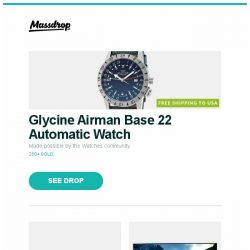 "[Massdrop] Glycine Airman Base 22 Automatic Watch, Topping DX3 Pro DAC/Amp, LG C8PUA 55/65/77"" 4K HDR Smart OLED TV w/ AI ThinQ and more..."