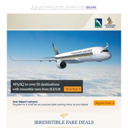 [Singapore Airlines] Fly to over 50 destinations worldwide with special fares from SGD128