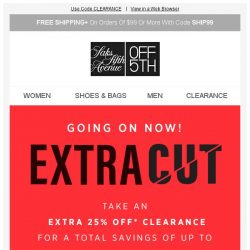 [Saks OFF 5th] Make it count: 85% off clearance is going on now!