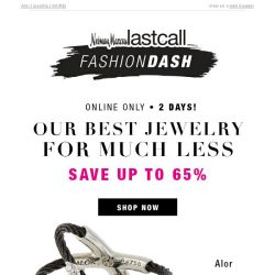 [Last Call] Best JEWELRY brands up to 65% off | 2 days