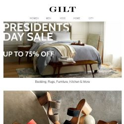[Gilt] Up to 75% Off Presidents' Day Home Sale. Shop Rugs, Lighting, Furniture & More.