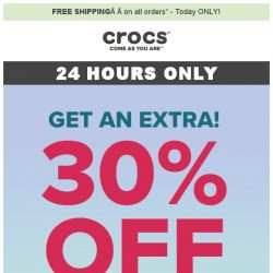 [Crocs Singapore] 【24hrs ONLY】 Extra 30% OFF on Everything‼