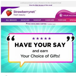 [StrawberryNet] , Leave a Review and You could Earn a Free Gift + Extra 10% Discount!