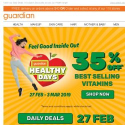 [Guardian] 🍎 Healthy Days is here with 35% off our Vitamins Bestsellers!