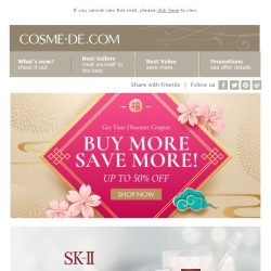 [COSME-DE.com] Top Beauty Brands with Coupons: up to 50% off