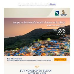 [Singapore Airlines] From SGD398, escape to the colourful world of Busan