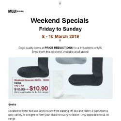 [Muji] MUJI Weekend Specials: 8 - 10 March 2019