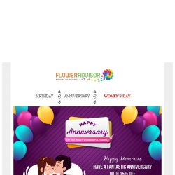 [Floweradvisor] Happy Anniversary for you. Enjoy 15% Off for special day!