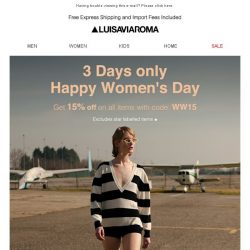 [LUISAVIAROMA] 3 days only! 15% off for Women's Day