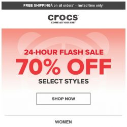 [Crocs Singapore] Gone in a Flash ⚡  70% off for 24 hours ONLY‼