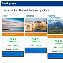 [Booking.com] Adler, Bergerac, or Cortina d'Ampezzo? Get great deals, wherever you want to go