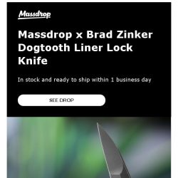 [Massdrop] Massdrop x Brad Zinker Dogtooth Liner Lock Knife: In Stock With Fast Shipping