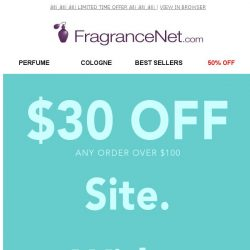 [FragranceNet] FLASH SALE ⚡ Save up to 70% + EXTRA $30* off