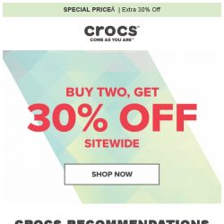 [Crocs Singapore] Buy More & Save More💵 Extra 30% off Sitewide‼