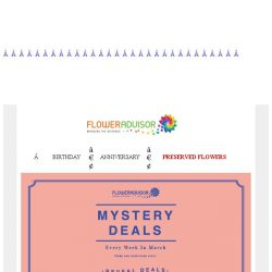 [Floweradvisor] Save Up To 30% OFF! Mystery Deals Ends Up 2 Day Left