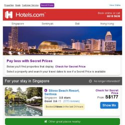 [Hotels.com] Great properties in Singapore - Book Now!