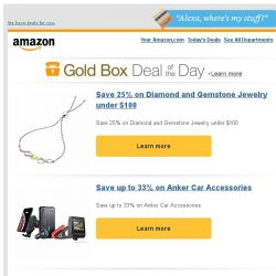 [Amazon] Save 25% on Diamond and Gemstone Jewelry under...