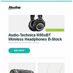 [Massdrop] Audio-Technica M50xBT Wireless Headphones B-Stock, Olympus M.Zuiko ED 40–150mm f/2.8 PRO Lens, Tin Audio T2 & T2 Pro IEMs and more...