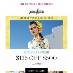 [Neiman Marcus] 3 days only: $125 off $500!