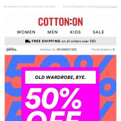 [Cotton On] Literally THOUSANDS of styles are 50% OFF 👏👏👏