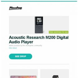 "[Massdrop] Acoustic Research M200 Digital Audio Player, Samsung 65/75"" Q9FN Full Array QLED Smart 4K UHD TV, Perrelet Turbine Automatic Watch and more..."