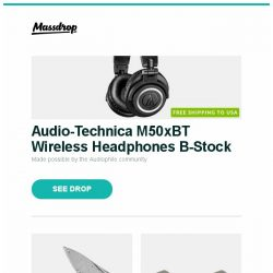 [Massdrop] Audio-Technica M50xBT Wireless Headphones B-Stock, Rike Knife Damascus Hummingbird Mini Flipper Knife, Burson Audio V5i Opamps and more...