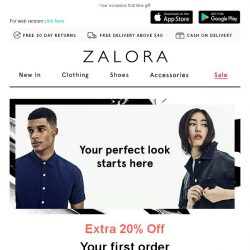 [Zalora] Get EXTRA 20% off your first order!