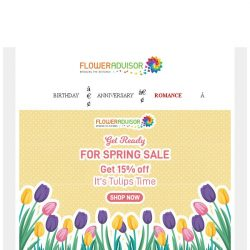 [Floweradvisor] Save 15% OFF Tulips Time On Spring Sale!