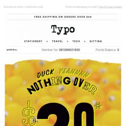 [typo] Last chance to get nothing over $20!
