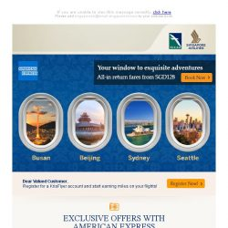[Singapore Airlines] Special fares from SGD128