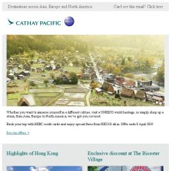 [Cathay Pacific Airways] HSBC credit cards special offers from SGD218 all-in