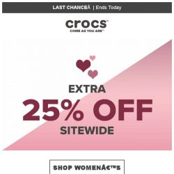 [Crocs Singapore] Ends Today‼ Sitewide Extra 25% OFF‼